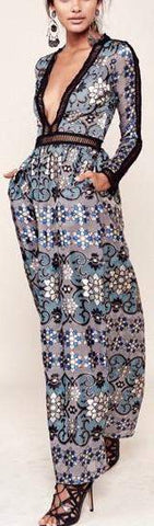 'Juliet' Maxi Dress in Blue - DESIGNER INSPIRED FASHIONS