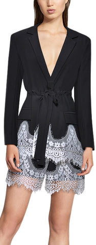Lace-Trim Blazer-Jacket and Short Set | DESIGNER INSPIRED FASHIONS