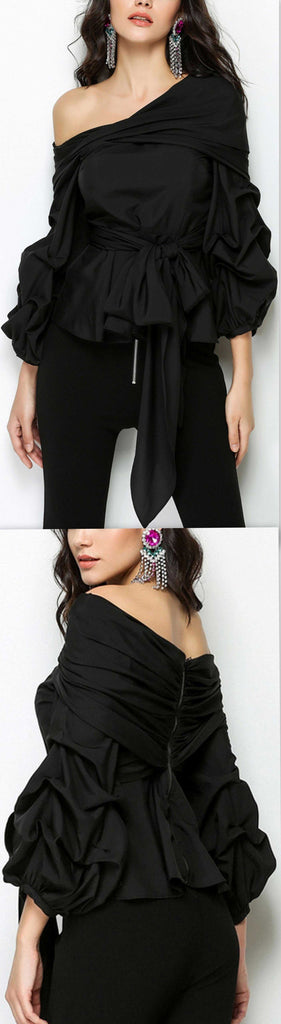 Balloon-Sleeve Top, Black or White