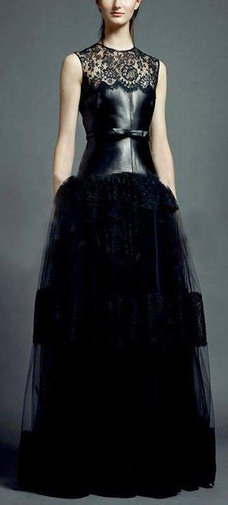 Long Black Tulle-Skirt Faux Leather Torso dress