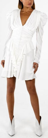 Buttoned Ruched Frill Mini Dress