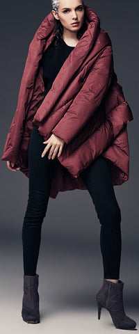 Asymmetric Puffer Coat, Wine Red