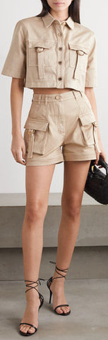 Cropped Safari Shirt and High-Rise Cotton Cargo Shorts | DESIGNER INSPIRED FASHIONS