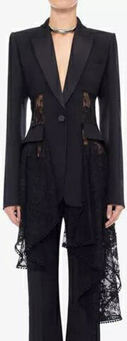 Black Asymmetrical Lace Detailed Blazer