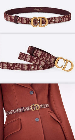 Saddle Oblique Belt, Burgundy | DESIGNER INSPIRED FASHIONS