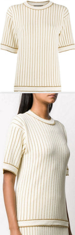 Metallic Pinstripe Knitted Top, Ivory/Gold Tone