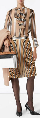 Icon Stripe Pleated Check Skirt