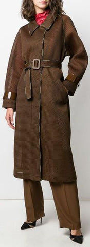 Brown Mesh Belted Trench Coat | DESIGNER INSPIRED FASHIONS