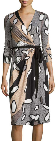 'Elizabel' Printed Silk Wrap Dress - DESIGNER INSPIRED FASHIONS