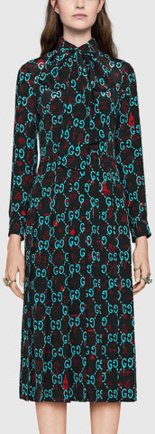 'GG' Ghost Print Silk Dress - DESIGNER INSPIRED FASHIONS