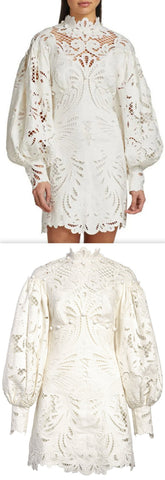 'Wavelength' Embroidered Lace Mini Dress