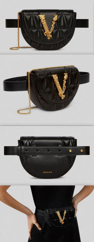 'Virtus' Quilted Belt Bag, Black