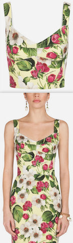 Rose Print Corset Style Top