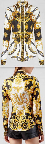 Baroque Printed Satin Shirt | DESIGNER INSPIRED FASHIONS
