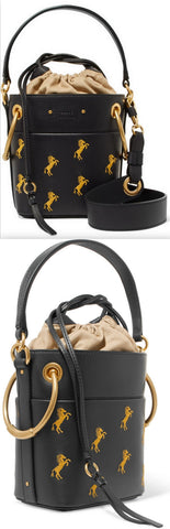 'Roy' Mini Embroidered Leather Bucket Bag | DESIGNER INSPIRED FASHIONS