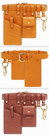 Leather Belt Bags - Orange or Rust Red