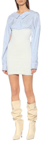 Fitted Short Stretch Shirt-Dress | DESIGNER INSPIRED FASHIONS