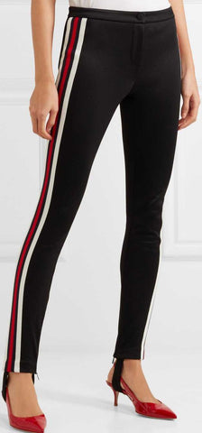 Striped Tech-Jersey Leggings, Black