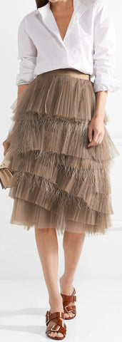 Tiered Tulle and Feather Skirt