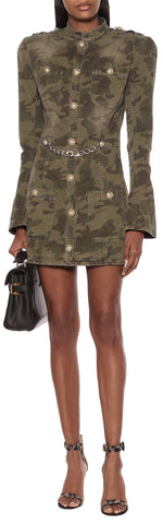 Camouflage Cotton Mini Dress with Chain | DESIGNER INSPIRED FASHIONS
