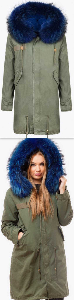 Army-Green Fur Parka Coat-Blue Fur - DESIGNER INSPIRED FASHIONS
