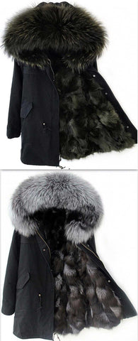 Black Fox Fur Color-Blend Lined Parka Jacket-Black or Grey Blend | DESIGNER INSPIRED FASHIONS