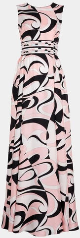 'Fortuna' Print Silk Maxi Dress