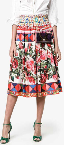 'Mambo' Print Pleated Skirt