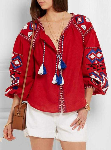 'Kilim' embroidered linen Boho blouse in Red or White - DESIGNER INSPIRED FASHIONS