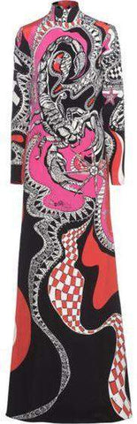 'Zodiac' Printed Long Jersey Silk High-Neck Dress-Multi Color | DESIGNER INSPIRED FASHIONS
