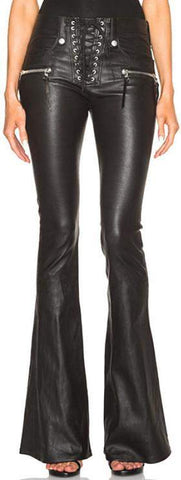 Black Faux-Leather Lace-up Flare Pants - DESIGNER INSPIRED FASHIONS