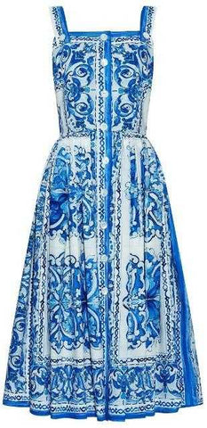 'Majolica' Print Sleeveless Dress in Blue & White | DESIGNER INSPIRED FASHIONS