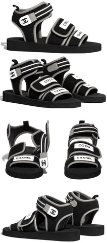 Black and Grey Fabric Sandals | DESIGNER INSPIRED FASHIONS