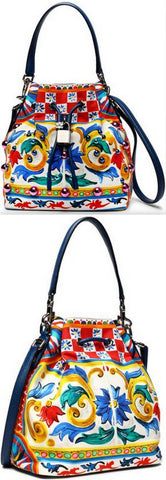 Claudia Embellished Printed Canvas Bucket Bag