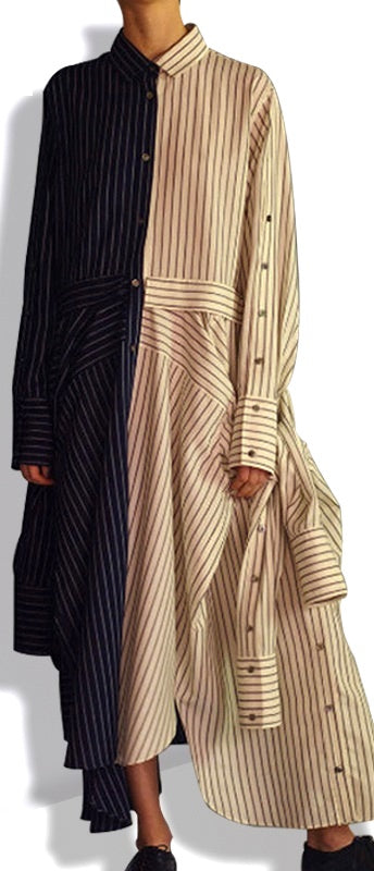 Color-Block Striped Shirt-Dress