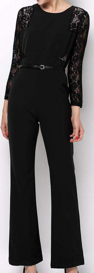 Lace Panel Cady Jumpsuit in Black - DESIGNER INSPIRED FASHIONS