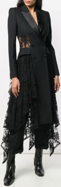 Black Lace Drape Double-Breasted Coat | DESIGNER INSPIRED FASHIONS