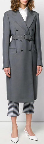 Belted Double-Breasted Coat, Grey