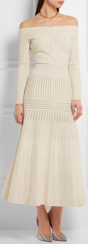 Off-the-Shoulder Mesh-Paneled Stretch-Jersey Dress | DESIGNER INSPIRED FASHIONS