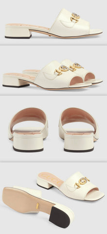 Zumi Leather Slide Sandals, White