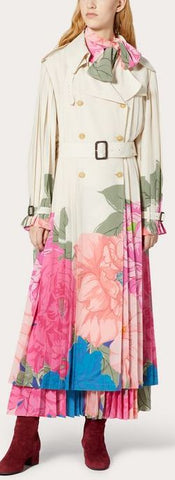 Floral Print Pleated Trench Coat | DESIGNER INSPIRED FASHIONS