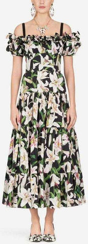 Long Lily Print Poplin Dress | DESIGNER INSPIRED FASHIONS