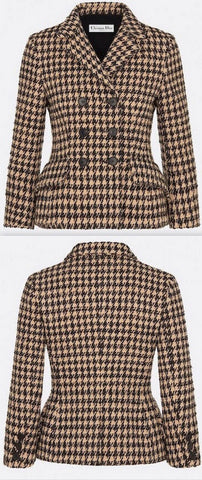 Natural Double-Breasted Houndstooth Jacket