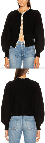 Pearl Placket Cropped Cardigan | DESIGNER INSPIRED FASHIONS