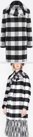 Coat in Wool with Check Motif