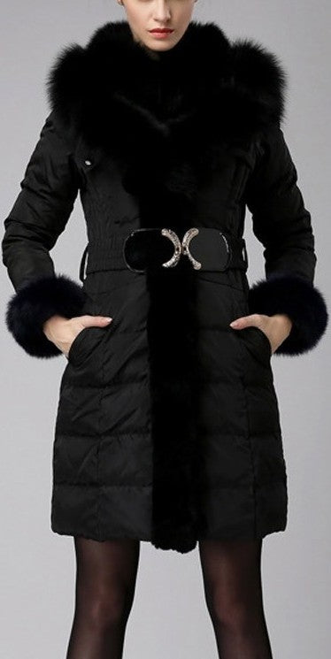 Belted Fox-Fur-Trimmed Puffer Down Coat, Black