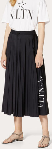 'VLTN' Star Print Pleated Skirt