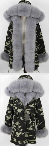 Army Parka Military Camouflage Parka Coat with Fox Fur-Grey - DESIGNER INSPIRED FASHIONS