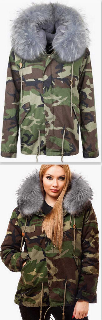 'Camo' Fur Parka Jacket-Grey - DESIGNER INSPIRED FASHIONS