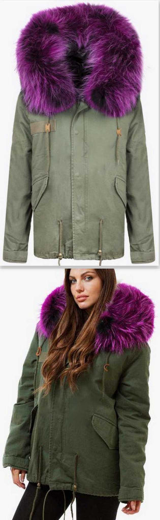 Army-Green Fur Parka Jacket-Purple Fur with Black Lining - DESIGNER INSPIRED FASHIONS